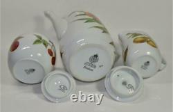 ROYAL WORCESTER Porcelain England EVESHAM Gold Set Coffee Pot Creamer Sugar Bowl