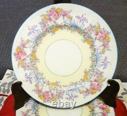 ROYAL WORCESTER Z502/1 JUNE Turquoise Rim SET 4 DINNER PLATE HandPainted FLOWERS