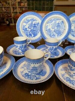 Rare Royal Worcester Blue Willow 19th Century Set Service