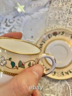 Rare Royal Worcester Jeweled Cup Saucer Set Raised Gold Dot Christopher Dresser