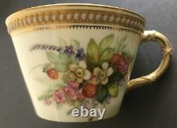 Rare Royal Worcester Jewelled & Glazed Cabinet Cup & Plate Set with Floral Spray