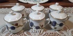 Rare Royal Worcester Wild Harvest Set of 6 Dessert Pots withLids Gold Trim and R