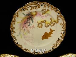 Rare Set Of 8 George Jones & Sons Gilt & Hand Painted Fish Plates Circa 1890