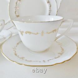 Royal Worcester 10 Pc Two Settings Gold Chantilly Fine Bone China White Gold