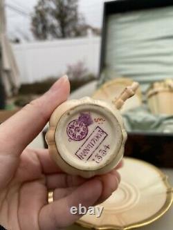 Royal Worcester 12 Tea Cup Saucer Set In Original Silk Box Blush Ivory