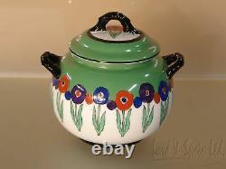 Royal Worcester 16 Pc Green Floral Art Deco Tea Set-Teapot/Sugar/Plates/C/S