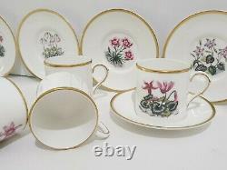 Royal Worcester Alpine Flowers Demitasse Cup & Saucer Set of 6