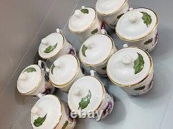 Royal Worcester Astley Pot De Creame Cups & Lids 11 Sets