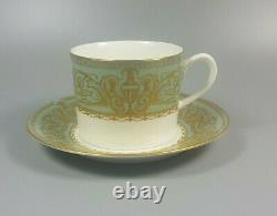 Royal Worcester Balmoral (green) Set Of 7 X Tea Cups And Saucers (perfect)