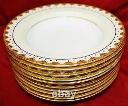 Royal Worcester Bone China Raised Gold Encrusted Rimmed Soup Bowls Set Of 10