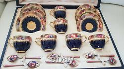 Royal Worcester Boxed Fruit Coffee Set With Spoons Signed W Bee