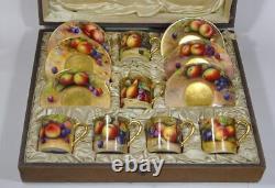 Royal Worcester Boxed Fruit Painting Demitasse Set 1925