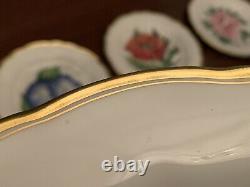 Royal Worcester Cabinet Plates Z2168 Set 12 Floral Flowers Gold Rim 9 Luncheon
