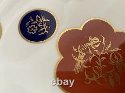 Royal Worcester Celestial 1965 Bone China Set of 2 White & Red 10.5 Plates