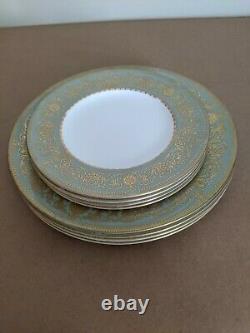 Royal Worcester China Green/Gold Dinner/Salad Plates-set of 8-Balmoral Green1966