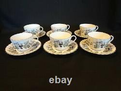 Royal Worcester China Lavinia White Set of 6 Coffee Cups and Saucers