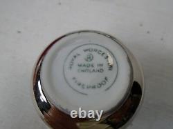 Royal Worcester Condiment Set S&P Salt Pepper Mustard Pot In Box Silver Lustre