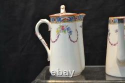 Royal Worcester Demitasse Service Set, Tea Coffee Baltimore Pattern Vtg