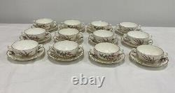 Royal Worcester Dunrobin Footed Soup Bowls And Saucers Set Of 12 VG Condition