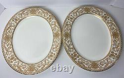 Royal Worcester Embassy 13 Serving Platter Set of Two White Gold