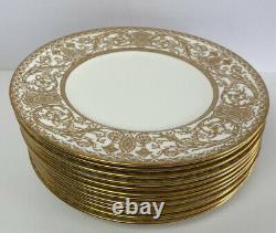 Royal Worcester Embassy Gold White 10.25 Dinner Plates Set of 12