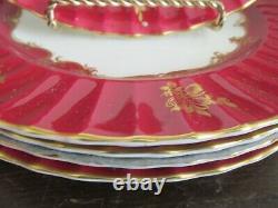 Royal Worcester England Porcelain Set Of 6 Dinner Plate Burgundy Red Gold