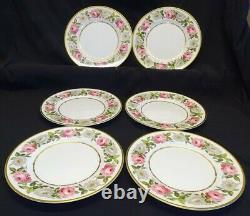 Royal Worcester England Royal Garden Set of 6 Dinner Plates 10 5/8 Bone China