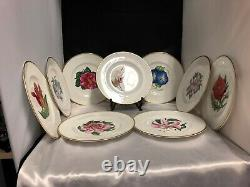 Royal Worcester England Set Of 10 Floral Hand Painted Dinner/cabinet Plates