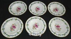 Royal Worcester England Sheridan Set of 6 Flat Soup Bowls 9 1/4 Bone China