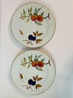 Royal Worcester Evesham Gold Dinner Plates 10 Set Of 4 White Gold Fruit Fall
