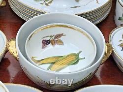 Royal Worcester Evesham Gold Dinnerware Set/Oven to TableWare Fruits England VGC