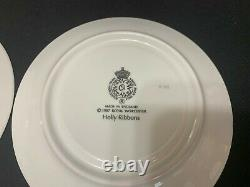 Royal Worcester HOLLY RIBBONS England Set of 2 Cups & Saucers 2 3/4 Tal