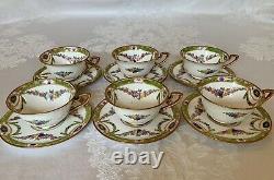 Royal Worcester Hand Painted Enamel Tea Cup & Saucer (6 Sets) c. 1919 #1021