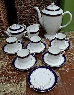 Royal Worcester Howard Blue Coffee Set Pot Cups Saucers Sugar Milk 1st
