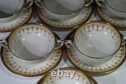 Royal Worcester Imperial Gold Soup Coupes Saucer Set of 6 Gold Encrusted