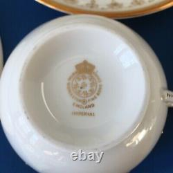 Royal Worcester Imperial White Set of 8 Tea Cups and Saucers