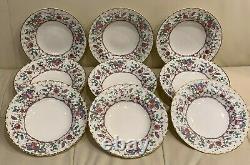 Royal Worcester Kashmir Pattern Rimmed Soup Bowls Set of 9