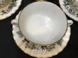 Royal Worcester LAVINIA England Set of 4 Cream Soup / Cups & saucers