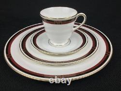 Royal Worcester Mondrian Burgundy Red Black Gold 32-Piece Dinnerware Set for 8