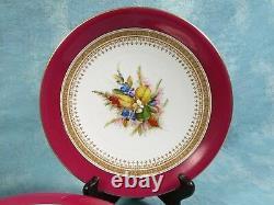 Royal Worcester Pedestal Footed Cake Stand Botanical SET Antique 1880 England
