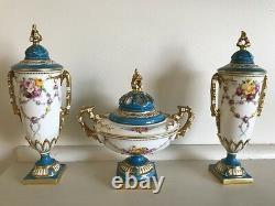Royal Worcester Rose Pot Pourri Set Signed E Phillips