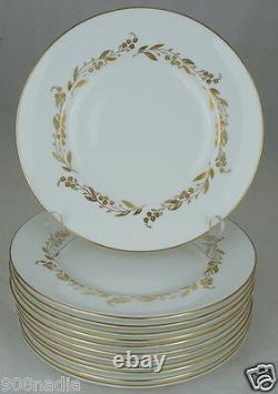 Royal Worcester Saguenay Salad Plate Set 12 White, Gold Leaf Flower Garland