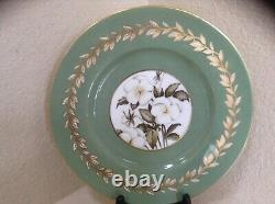 Royal Worcester Set of Twelve (12) Dinner Plates 10 1/2 Floral Gold Sage Green