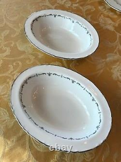 Royal Worcester Silver Chantilly English Bone Fine China setting for 12 + more