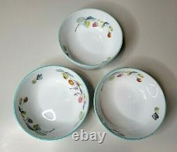 Royal Worcester Strawberry Fair Blue Rim English Set of 3 Individual Bowls