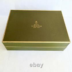 Royal Worcester Woodland Flat Demitasse Cups Saucers Set 6 Original Box Vintage