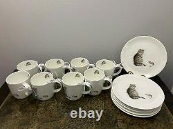 Royal Worcester Wrendale Design mug Cat & Mouse 16 Set Mug and Plates
