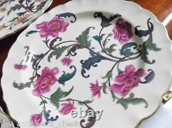 Royal Worcester antique set of 7 floral plates crown stamp and Y (1887)a12