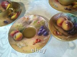 Royal Worcester fruit, hand painted miniature Cups and Saucers Set of 6 signed