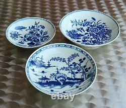 SET OF 3 WORCESTER EARLY PERIOD DR WALL TEA SAUCERS BLUE & WHITE c1770